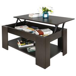 Lift-up Coffee Table Hidden Storage Cabinet Compartment Long