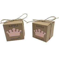 Amajoy 50pcs Little Princess Baby Shower Kraft Favor Boxes w