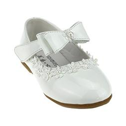 Maxu Kid Girl PU Dress Shoe Hook and Loop Bow Flat,White,Tod