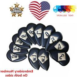 Neoprene Iron Covers Golf Club 3-4-5-6-7-8-9-PW-AW-SW-LW Ful