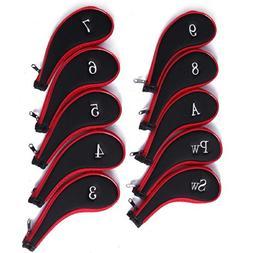 HDE Neoprene Zippered Golf Club Iron Covers - Set of 10