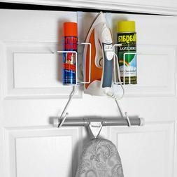 Evelots Ironing Board Holder-Over Door/No Tool or Wall Mount