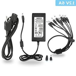 EWETON Power Adapter 12V 6A 72W 3-Pin Plug 100V-240V AC to D