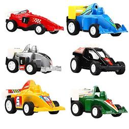 DeepLittleFish Pull Back Vehicles,6 Pack Race Car Toy,Pull B