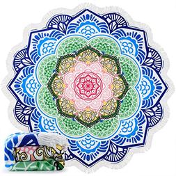Ricdecor Round Beach Towel Large Mandala Beach Towel Blanket