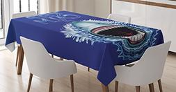 Sea Animals Decor Tablecloth by Ambesonne, Keep Calm and Sha