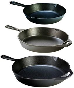 "Lodge Seasoned Cast Iron 3 Skillet Bundle. 12"" + 10.25"""