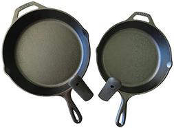 "Lodge Seasoned Cast Iron Skillet Bundle, 12"" and 10.25""  Cas"