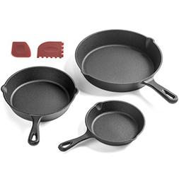 Pre-Seasoned Cast Iron Skillet 3 Piece Set  Best Heavy Duty