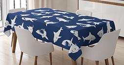 Shark Tablecloth by Ambesonne, Shark Pattern with Various Ge