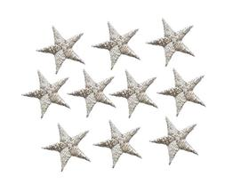 """1-1/4"""" Silver Star PACK of 10 PIECES Iron on Embroidered App"""