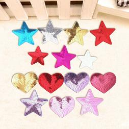 Star Heart Sequins Embroidery Sew On Iron On Patch Badge Fab