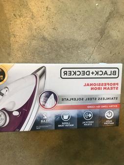 Black and Decker Professional Steam Iron, White/Purple , New
