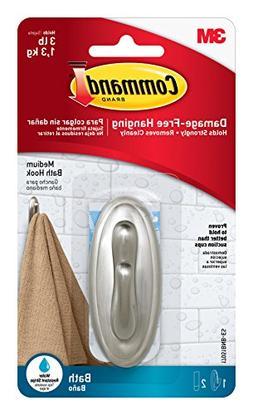 Command Traditional Plastic Bath Hook, Medium, Brushed Nicke