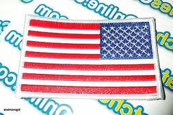 """USA American Flag Embroidered Iron- On Patch 2.5x4"""" White Bo"""