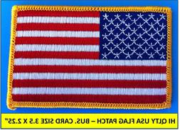 USA AMERICAN FLAG EMBROIDERED PATCH IRON-ON SEW-ON GOLD BORD