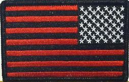 USA AMERICAN Flag Iron-On Patch Morale Patch Black & Red Ver