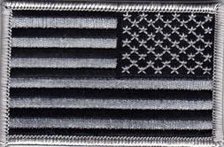 USA FLAG GRAY AND BLACK Iron On Patch American Biker Shoulde