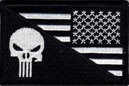 USA FLAG PUNISHER SKULL iron On Patch Black & White Army Com