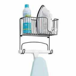 mDesign Wall Mount Ironing Board Holder, Large Storage Baske
