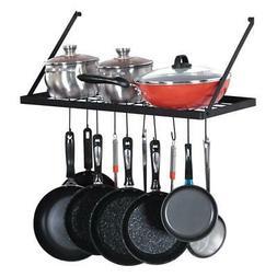 Wall Mount Rectangle Pot Pan Hanger Rack Home Kitchen W/ 15