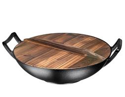 """Wooden Lid for 14"""" Cast Iron Wok"""