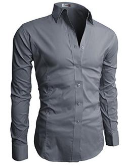 H2H Mens Wrinkle Free Slim Fit Shirt with Solid Long Sleeve